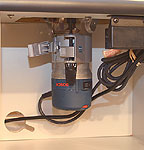 Bosch ra1171 router table newwoodworker llc the under table cabinet area is more than adequate for the bosch 1617 motor left hung here in the bosch ra1165 under table mount keyboard keysfo Gallery